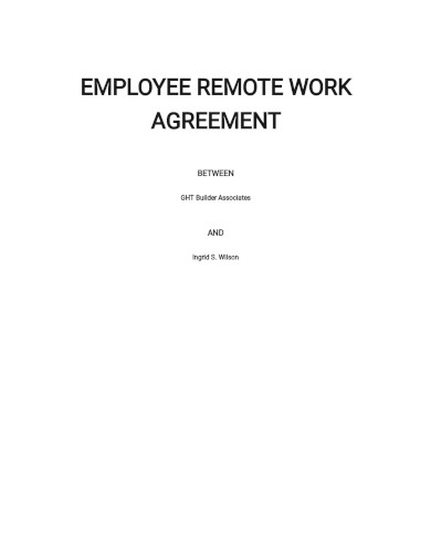 employee remote work agreement template