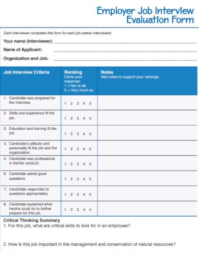 employer job interview evaluation
