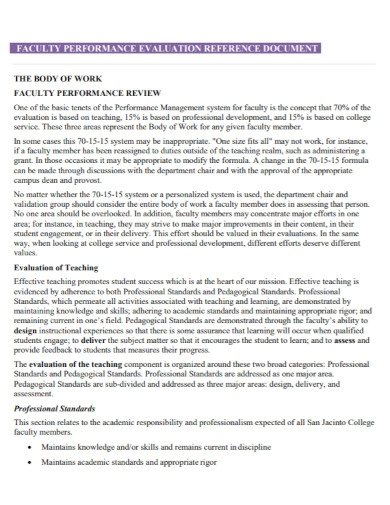 faculty performance evaluation in pdf