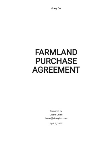 farm land purchase agreement template