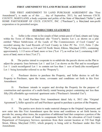 first amendment to land purchase agreement