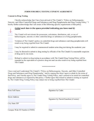 form for drug testing consent agreement