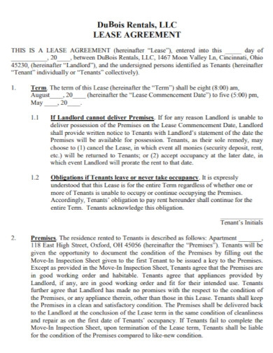 formal furniture lease agreement