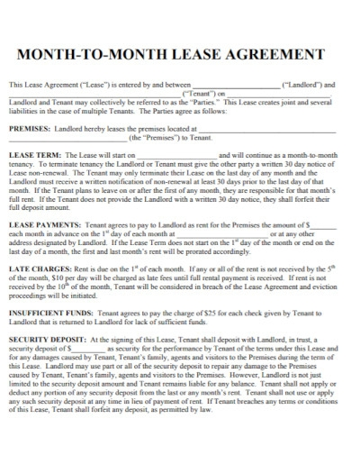 formal month to month lease agreement