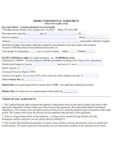 formal short rental agreement