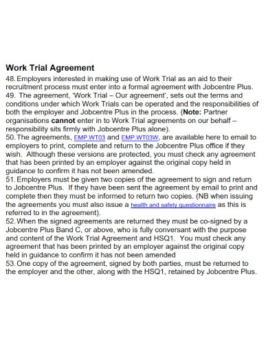 formal work trial agreement