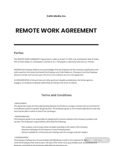 free remote work agreement template
