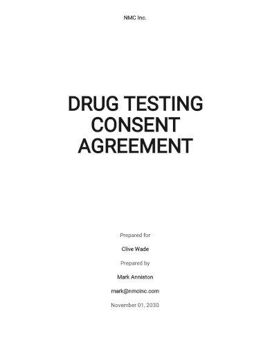free sample drug testing consent agreement template
