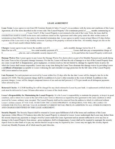 furniture rentals sales lease agreement