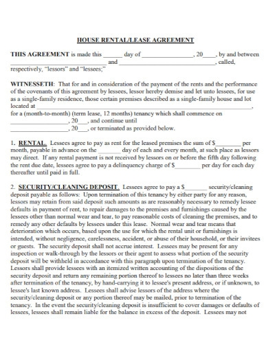 general house lease agreement