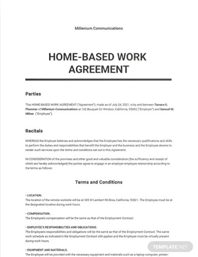 home based work agreement template