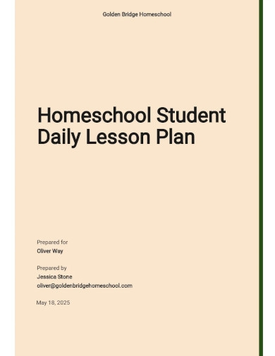 homeschool daily student lesson plan template