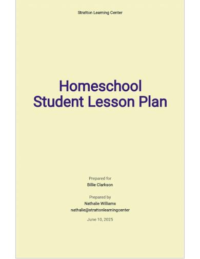 homeschool student lesson plan template