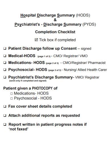 hospital discharge summary nursing note