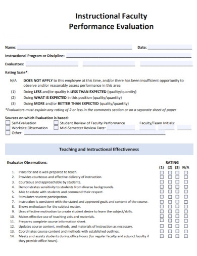 instructional faculty performance evaluation