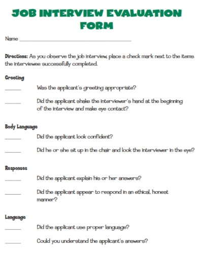 job interview evaluation in pdf