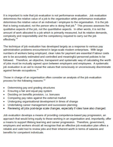 job knowledge evaluation template