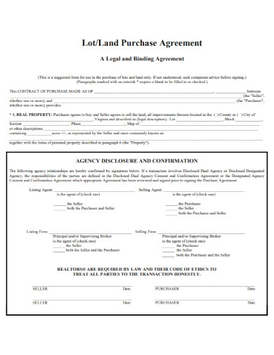 land purchase binding agreement