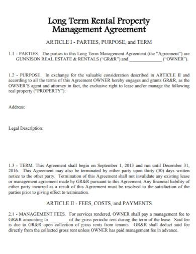 long term rental management agreement