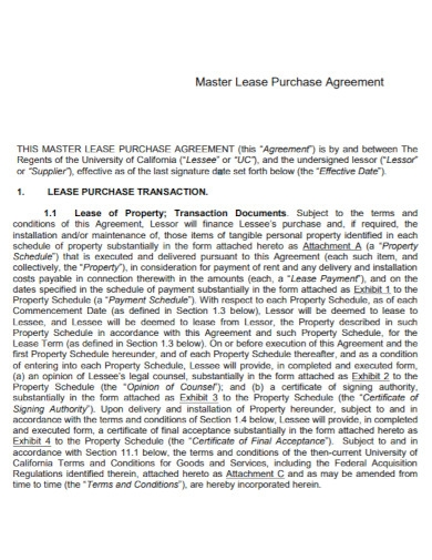 master lease purchase agreement