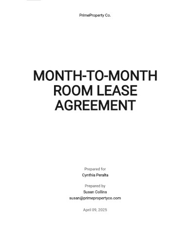 month to month room lease agreement template