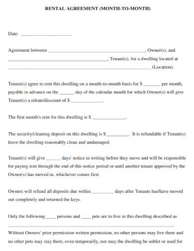monthly short rental agreement