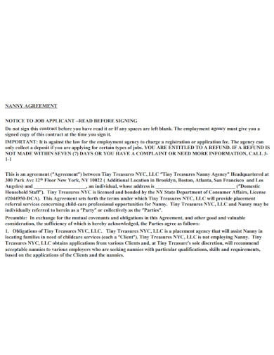 nanny agency agreement contract