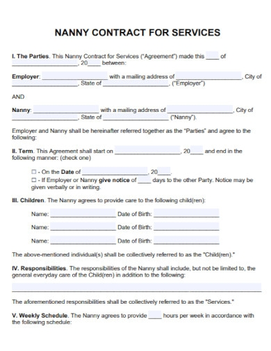 nanny agreement contract for services