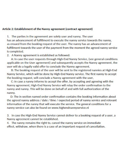 nanny agreement contract in pdf