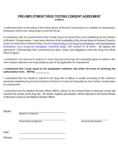 pre employment drug testing consent agreement
