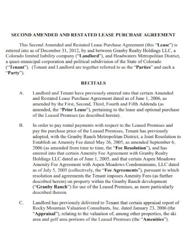 restated lease purchase agreement