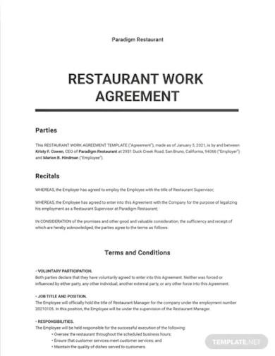 restaurant work agreement template1