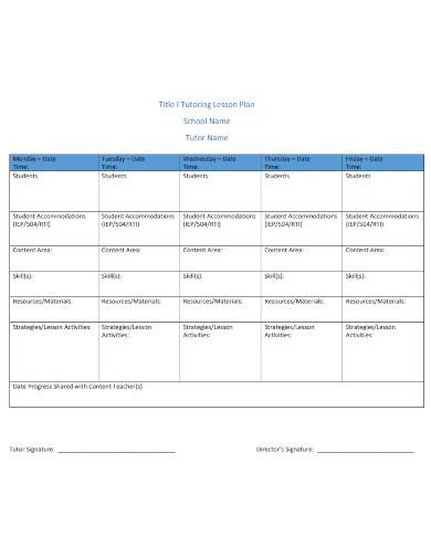 school tutor lesson plan
