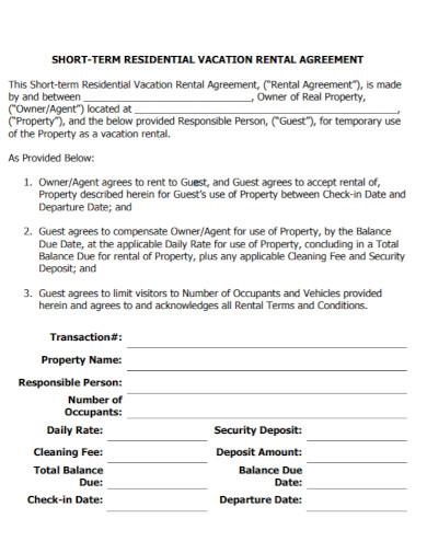 short residential rental agreement