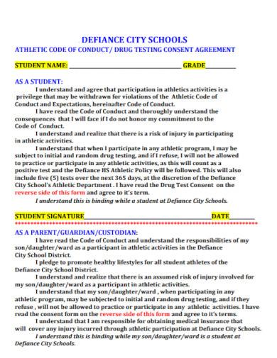 standard drug testing consent agreement