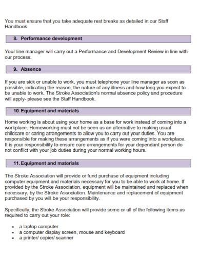 standard home based work agreement