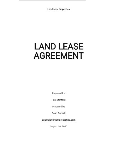 standard land lease agreement template