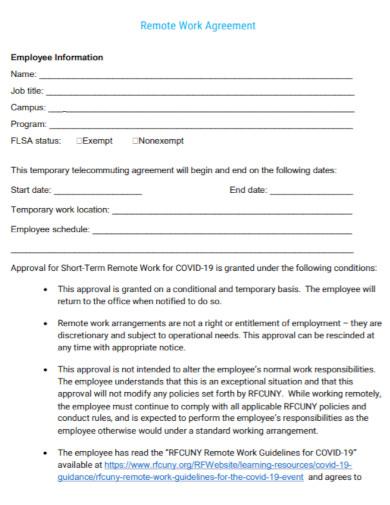 standard remote work agreement
