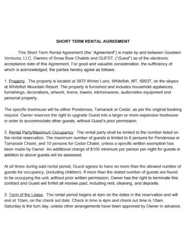 standard short rental agreement