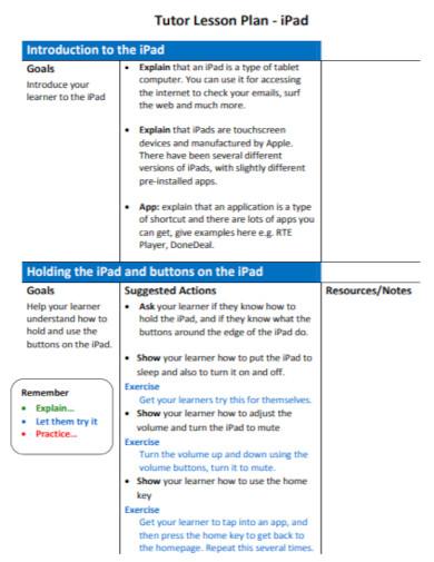 standard tutor lesson plan