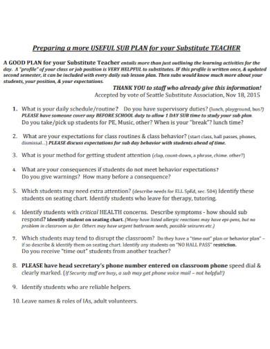 substitute teacher lesson plan template