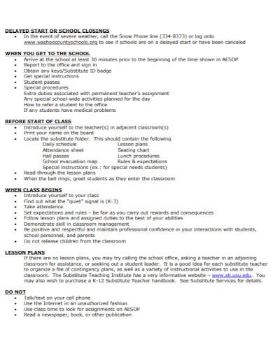 substitute teacher lesson plan in pdf