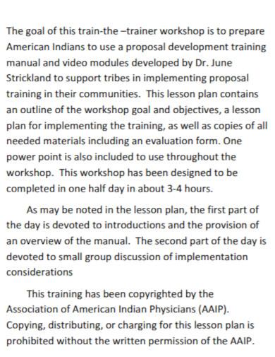 trainer workshop lesson plan