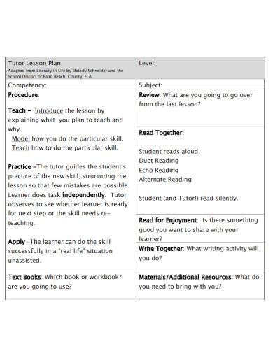 tutor lesson plan template
