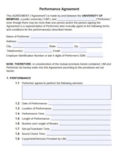 university performance agreement contract