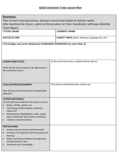 volunteer tutor lesson plan