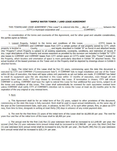 water tower land lease agreement