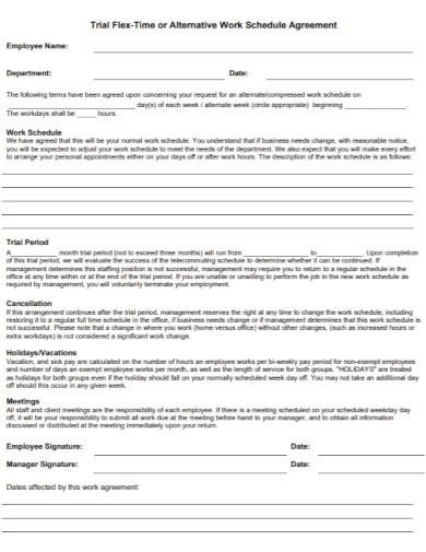work trial schedule agreement