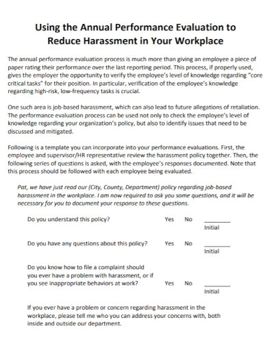 workplace annual performance evaluation