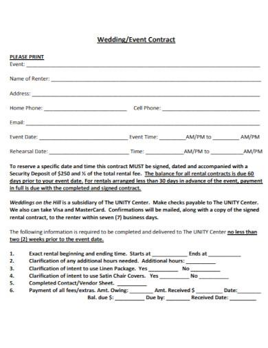 basic wedding event contract